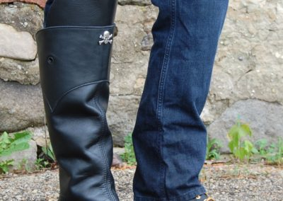 Mens Leather Half Chaps with Removable Knee Guards