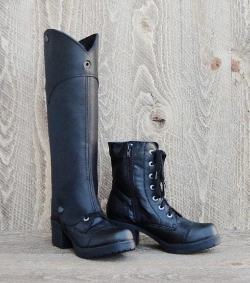 Cowboy Cut Black Leather d3Riffs Designer Half Chaps