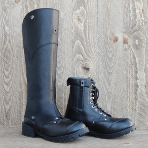 d3Riffs Designer High Top Riffs Style Half Chaps in black leather High Top style.