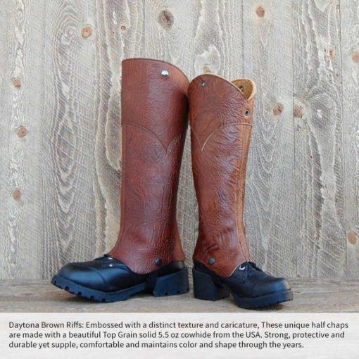 d3Riffs Designer Half Chaps in Daytona Brown Leather