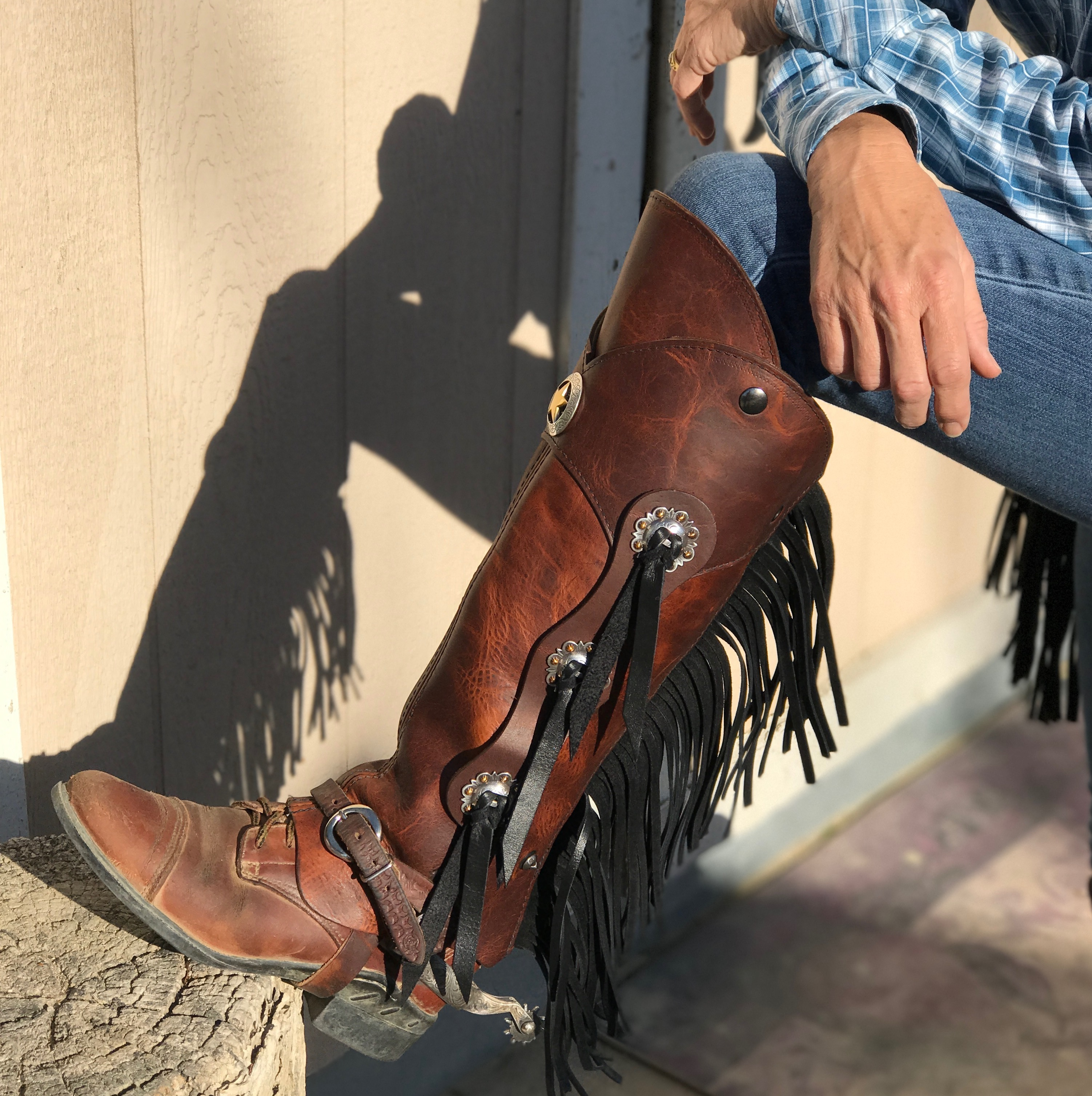 d3Riff Designer Half Chaps with the Cowboy Up kit and Zipper Fringe in Snakebite leather
